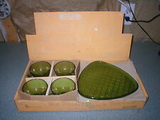 Lancaster Glass Olive Green Daisy & Button Snack Luncheon Plate & Cup Set of 4