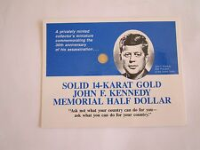 14K SOLID GOLD US$0.5 COIN OF JFK,KENNEDY COMMEMORATIVE 30TH ANNIVERSARY+ Bonus