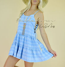 Chic LACE-UP Light Blue Beachy FLARED SUMMER SWING Boho Babydoll Sun Dress M