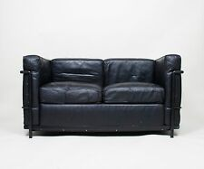 Le Corbusier Black Leather Black Frame LC2 Petit Modele Two Seater Maybe Cassina