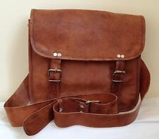 NEW VINTAGE LOOK GENUINE BROWN LEATHER LANDSCAPE SATCHEL BAG