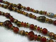Verre Rouge Ambre Or Art Déco Style Fantaisie Collier De Perles Années 1980
