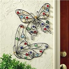 SET OF 2 BEADED BUTTERFLY WALL ART PR WALL PLAQUES indoor/out New Home Interior