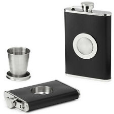 Hip Shot Flask Leather Cover With Built-in Collapsible Folding Shot Cup Glass