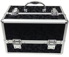 Large Floral Black Beauty Cosmetic Box Make Up Vanity Case Nail Tech Saloon Bag
