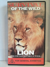 SURVIVAL OF THE WILD ~ LION ~ RARE AS NEW VHS VIDEO ~ FREE POST