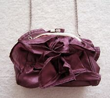 BCBG Girls ruffled evening occasion clutch chain bag small purse maroon purple
