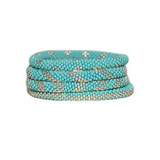 Turquoise and Galvanised Silver Crocheted Beaded Bracelets Set,roll on,Nepal