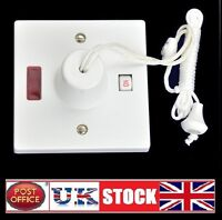 45Amp Bathroom Shower Pull Cord 45A Switch Ceiling White Double Pole with Neon