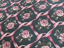 Hoffman Coventry Collection NAVY blue pink rose ribbon cotton fabric half yard