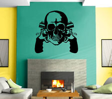 Guns Revolvers Skull Gangster Decor  Mural Wall Art Decor Vinyl Sticker z416