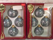 Vintage RAUCH VICTORIA COLLECTION 8 Gray Silver Christmas Balls Ornaments Glass