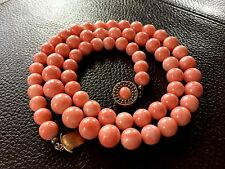 70g! 11mm-8,5mm coral beads 14k Chinese Antique Vintage Salmon coral necklace