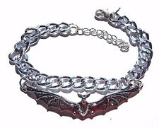 "SILVER VAMPIRE BAT BRACELET or ANKLET chain 7-8.5"" gothic halloween punk wing G5"