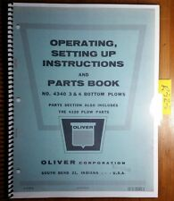 Oliver 4340 3 4 Bottom Plow Owner's Operator's & Setting Up & Parts Book Manual