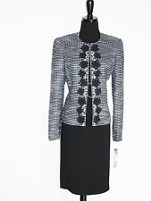 NEW $$$ TAHARI 2PC SKIRT SUIT 12 BLACK WHITE BOUCLE TWEED PEARL EMBROIDERED CHIC