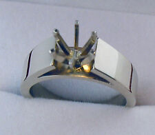 2CT SOLITAIRE RING MOUNTING 4.5MM WIDE HEAVY 14K SOLID WHITE GOLD