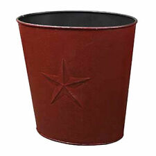 BURGUNDY BARN STAR WASTE BASKET Trash Can Bucket Primitive Country IN STOCK