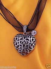 GOTH BLACK RIBBON CHOKER NECKLACE SCROLLED FILIGREE HEART PENDANT CRYSTAL ACCENT
