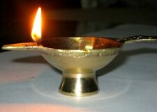 3 Brass Diyas Oil Lamps Diya for Hindu Puja Religious Item Gift Diwali Christmas