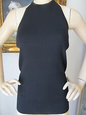 NEW ST JOHN KNIT WOMENS  SIZE P TOP KNIT HALTER BLACK CAVIAR