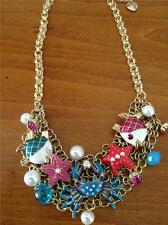 AUTH Betsey Johnson JEWELS OF THE SEA Mesh Chain Necklace FISH~CRAB~STARFISH