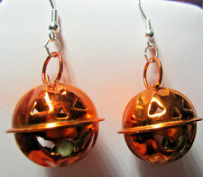 NORA WINN UNIQUE PUMPKIN HEAD BELL FUNNY EARRINGS ORONGE METAL HALLOWEEN 925