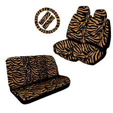 LOW BACK HEAD REST FRONT & BACK SEAT COVERS ZEBRA TAN