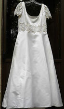 Satin White, Short Sleeve, Wedding Gown by Mori Lee, Ball Gown style V. G. cond.