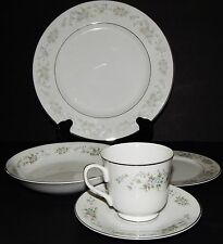 5pc WHITE Carlton Corsage SILVER RIM PLACE SETTING Fine China 481