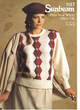 Sunbeam Pure New Wool/Onyx DK KNITTING PATTERN diamond patterned sweater 1127