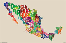 Super-Cool WORD CLOUD MAP OF MEXICO Wall Poster by Michael Tompsett
