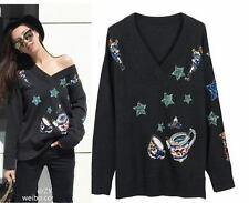 Black Grey V Neck Sequin Star Teapot Knitted Sweater Pullover Runway 65o