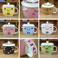 Novelty Ceramic Cartoon Face MUGS Coffee Tea Milk Cups with Lid Valentines GIFT