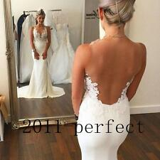2016 Sexy Mermaid Wedding Dress Sheer Back Scoop Neck Lace Applique Bridal Gowns
