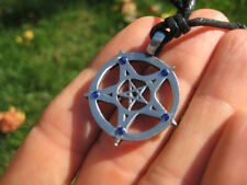 Metal Pewter inverted Star Pentagram Pentacle Pendant Necklace A57