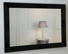 "Milan Black Glass Framed Rectangle Art Deco Wall Mirror 36"" x 24"" Large"
