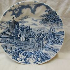 VINTAGE ROYAL WESSEX ENGLAND BLUE & WHITE ROYAL MAIL 6.7 IN. BREAD PLATE, XLNT