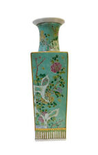 Chinese Turquoise Blue Square People Scenery Porcelain Vase cs1493