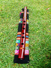 NATIVE AMERICAN FLUTE & INDIAN BAG SOLID MAHOGANY WOOD key (G) Retail £137.New