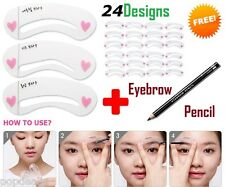 24 Design Grooming Shaping Assistant Template Eyebrow Stencil Card Brow Make-Up