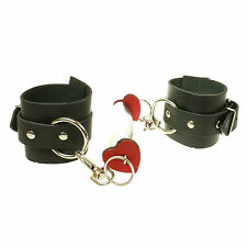 Black Leather Heart & Metal Design 100% Real Leather Handcuff Made In England