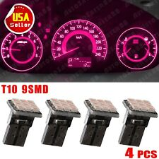 4 PCS Fashion Pink T10 Wedge 9SMD  Dashboard Instrument Panel Light W5W 158 192