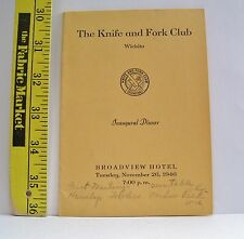 THE KNIFE & FORK CLUB INAUGURAL DINNER PROGRAM 1946 WICHITA KANSAS