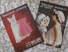 ~ 2 GRACE KNOTT SMOCKING HEIRLOOM SEWING PATTERNS APRON AND BONNETS  ~