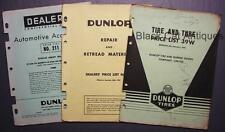 Original Dunlop Tires Lot Of Three Tires/Accessories Dealer Price Lists 1951