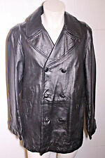 Calvin Klein Black Double Breasted Military Peacoat Style Leather Jacket Sz L
