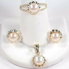 14k Yellow Gold  Pearl Sunflower Earrings Pendant and Ring size 5 to 9.5 #S126