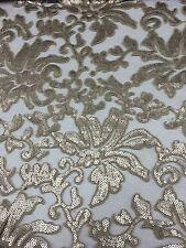 Silver Beyonce Floral Fashion With Sequins Lace Fabric Sold By Yard