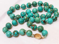 VINTAGE CHINESE 100% NATURAL BLUE TURQUOISE 12mm BEADS NECKLACE, 98 GRAMS